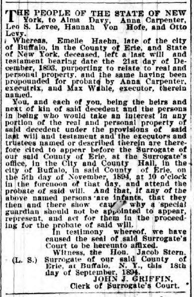 Emelie Haehn - Probate notice - 24-Oct-1894 - Buffalo Courier, courtesy of Scott Hicks