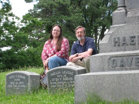 R.(and M.) with 4th great grandparents Forest Lawn Cemetery 2010 Buffalo NY (c) 2013 barefoot photos