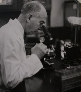Dr. Von Hofe working on a microscope
